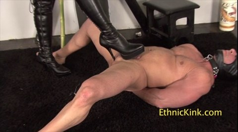 Mistress Phoenix Toys With His Cock High Heels Fem Dom CBT Strap On